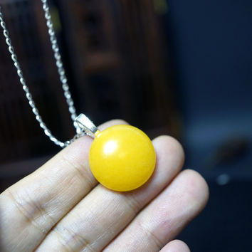 Large Yellow Jade Necklace,  Round Sterling Silver Orange Jade Necklace  Jade Pendant,  Yellow Stone Yoga Necklace, Chakra Healing