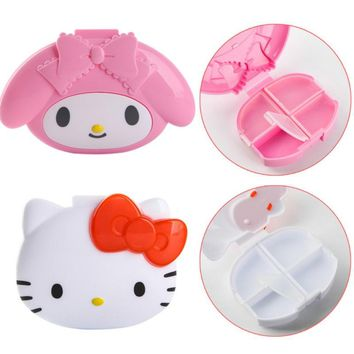 1pe new 4Slots Cute Cartoon Hello Kitty My Melody Portable Pill Medicine Case Box Plastic Drug Box Storage Case Box figure toys