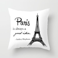 Paris / Eiffel tower/ Audrey Hepburn Throw Pillow by Art.style.designs