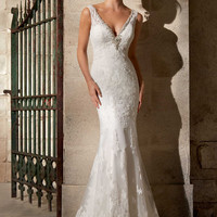 Mori Lee 2721 Keyhole Back Lace Wedding Dress
