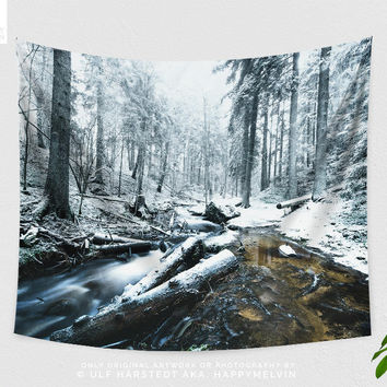 Snowy Forest Tapestry, Forest Wall Tapestry, Forest Wall Tapestry, Nature Wall Hanging, Photography, Boho Wall Art, Dorm Decor, Gift, Indie