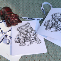 Vintage Inspired Bulldog Team Spirit Note Cards. Set of 10 with Envelopes Included