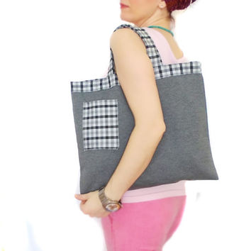 ON SALE // Canvas Tote Bag, Eco Friendly, Grey, Gray, Cotton Grocery Bag, Plaid, Gray, Natural Bag, Shopping bag, Summer bag