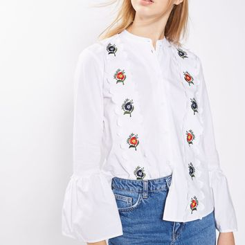 Embroidered Scallop Shirt | Topshop