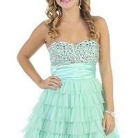 strapless jewel short prom dress with tiered cupcake skirt - debshops.com