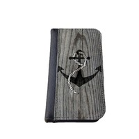 caseorama Wood print iPhone 5C wallet case Flip Case graphic chevron dandelion anchor graphic distressed (Wood Anchor)
