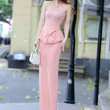 Halter Neck Ruffles Split Backless Maxi Dress