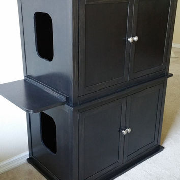 Stacked Double, Odor Free, Custom, Hand Made in USA, Wood Cat Litter Box Cabinet. Smooth Sides. Not MDF