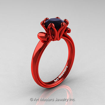 Modern Antique 14K Coral Red Gold 1.5 Carat Black Diamond Solitaire Engagement Ring AR127-14KCRGBD