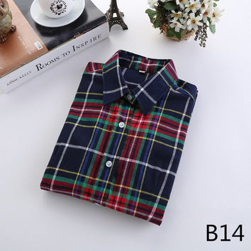 For Her: Classy Blues Medium - 5XL Plaid Flannel Long Sleeve Shirt