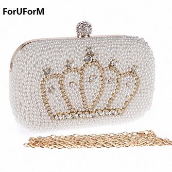 Imperial crown pattern Luxury crystal Clutch bags bling beading evening bags women evening clutch bags party bag purse LI-1176