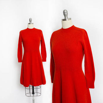 Vintage 1960s St. John Dress - Wool Santana Knit Coral Red Long Sleeve Day Dress - Small
