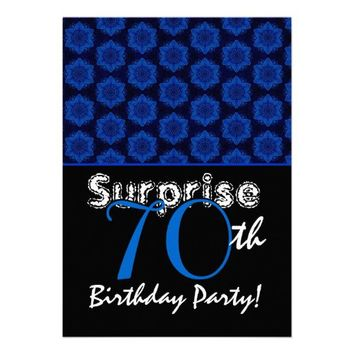 SURPRISE 70th Birthday Royal Blue Stars W1448 Personalized Invites from Zazzle.com