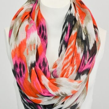 Ikat Print Infinity Scarf - Pink and Orange