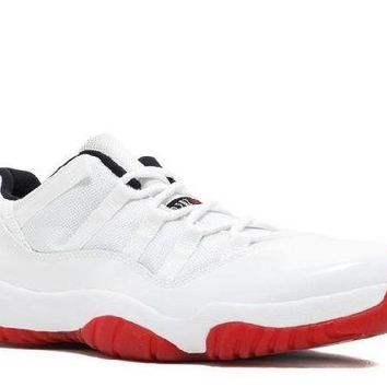DCCKUN7 Ready Stock Nike Air Jordan 11 Retro Low White Varsity Red Black Basketball Sport Shoes