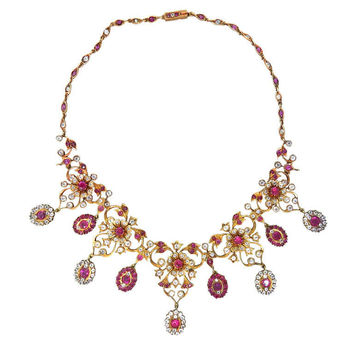 Antique Gold Natural Burmese Ruby Sapphire Necklace