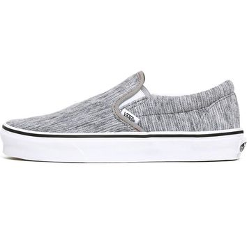 Rib Knit Classic Slip-On Women's Sneakers Gray / True White