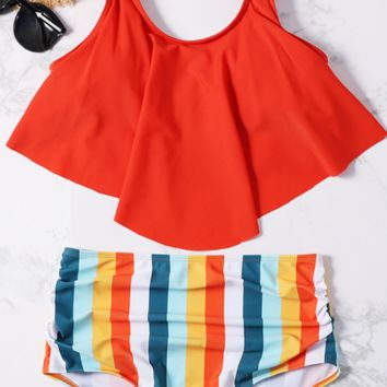 Orange Flounce Stripe High Waisted Bikini Sets