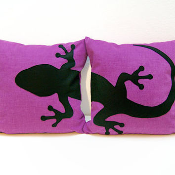 Gecko cushion covers - purple and black - Made to Order