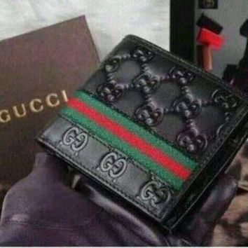 DCCKIN2 NWT Gucci Men's Black Leather Guccissima Wallet Web Bifold Men's Wallet free