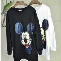 Sketch Mickey Print Cuff Sleeve Sweatshirt