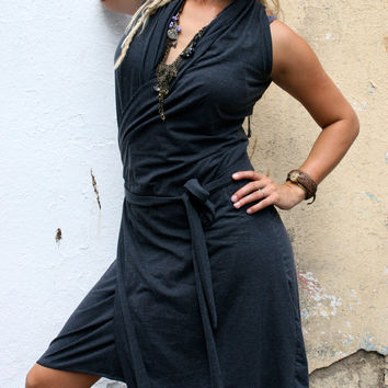 Dark Grey WRAP AROUND Dress by ColorfulTherapy on Etsy
