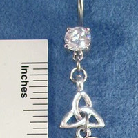 Triquetra Trinity Knot Double Silver Charms 316L Navel Belly Ring Surgical steel