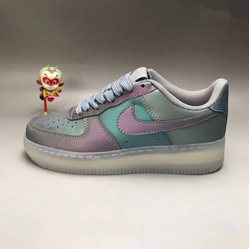 """Nike Air Force 1"" Unisex Sport Casual Fashion Multicolor Chameleon Air Cushion Plate Shoes Couple Thick Bottom Sneakers"