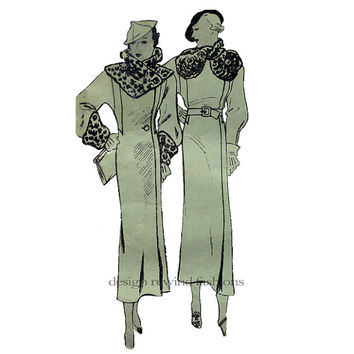 1930s EVENING COAT PATTERN Slightly Fitted Gatsby Coat Fur Collar & Cuffs Butterick 5857 Bust 34 UNCuT Rare Women's Vintage Sewing Patterns