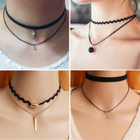 New Fashion Velvet Suede Lace Choker Necklace Gold Plated Black Rectangle Pendant Vintage Woman Punk Gift