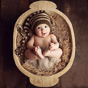 Handmade Newborn Photography Prop Winter Baby Boys Girls Coffee Striped Hats Infants Crochet Knitted Caps Costumes for 0-4M