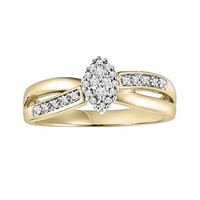Cherish Always Round-Cut Diamond Crisscross Engagement Ring in 10k Gold Two Tone (1/6 ct. T.W.) (White)