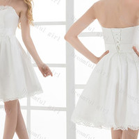 Strapless sleeveless satin with lace lace up back homecoming dress