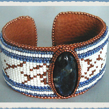 Stunning Sodalite Cabochon  Bead Loomed Cuff Bracelet   ~Beadwork Bracelet~Boho Cuff Bracelet~Blue&White Bracelet~LoomBeaded Bracelet