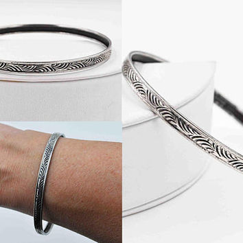 Vintage Sterling Silver Bangle Bracelet, Swirls, Swirling, Chased, Rolled Edge, Stackable, Stacking, So Pretty! #c245