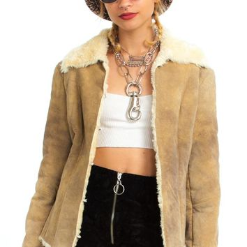 Vintage 90's Genuine Leather Fuzzy-Trim Jacket - XS/S