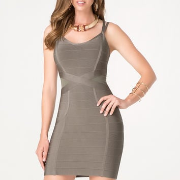 bebe Womens Strappy X Bandage Dress Dusty Olive