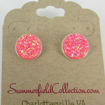 Silver-Tone Hot Pink Faux Druzy Stone Stud Earrings 12mm