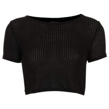 Skinny Rib Crop Tee - Black
