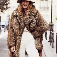 Free People Womens Shaggy Faux Fox Fur Coat