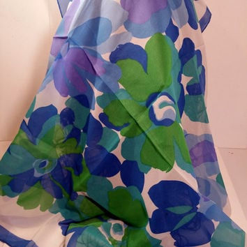 """Blue Green Floral Scarf Chiffon Style Square Scarf 27"""" Vintage Scarf"""