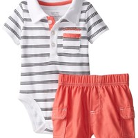 Calvin Klein Baby-Boys Newborn Stripes Polo Bodysuit and Cargo Shorts, Multi, 6-9 Months