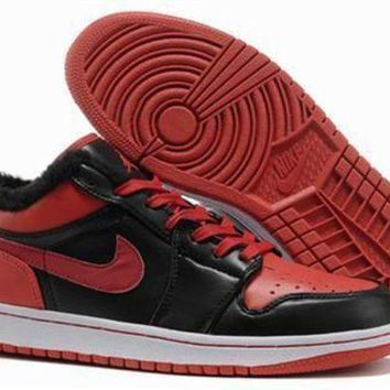 Cheap Air Jordan 1 Retro Low Shoes Fluff Black Red