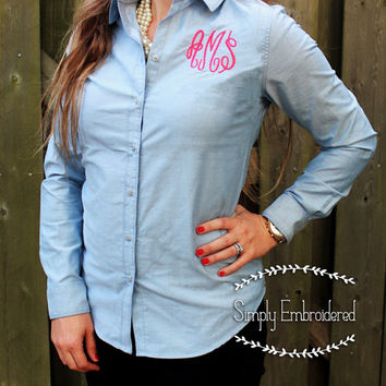 Ladie's Chambray Button Down Long Sleeve Shirt with Monogram