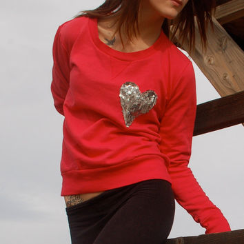 The Dazzle Pocket Sweatshirt   Sequin Heart Chest by ICaughtTheSun