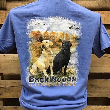 Backwoods Born & Raised Lab Dog Flying Ducks Comfort Colors Bright Unisex T Shirt