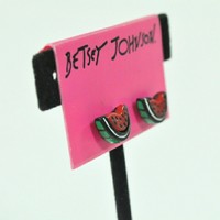 Betsey Johnson Watermelon Picnic Stud Earrings