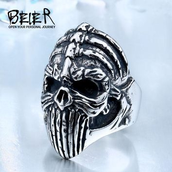 BEIER New Store 316L Hot Sell 316LStainless Steel Winged Skull Cool Punk Ring Biker Vintage Man`s Jewelry BR8-412