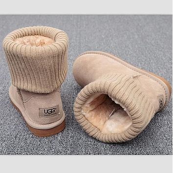 UGG Fashion Plush leather boots boots in tube Boots Beige
