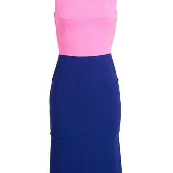 Roland Mouret Stretch Crepe and Virgin Wool Asymmetric Dress
